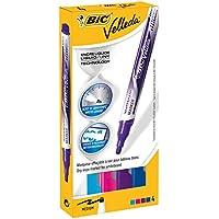 BIC Velleda - Caja de 4 marcadores para pizarra blanca, colores rojo, morado, azul claro y azul