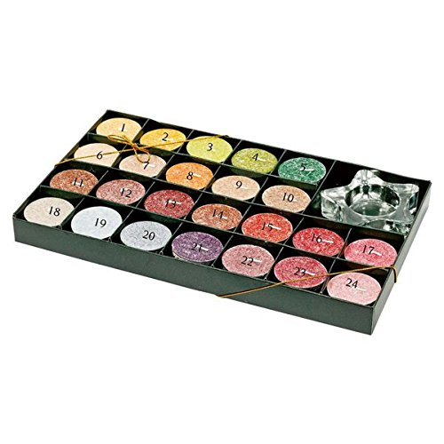Preisvergleich Produktbild Duftkerzen-Adventskalender: 24 Palmwachs-Teelichter mit Glas-Leuchter