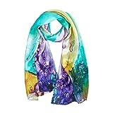Seidenschal Damen 100% Seiden Satin Schal Elegante Seidentuch Hautfreundlich Anti-Allergie Halstuch 170 * 55cm (Lila gelbgrün) MEHRWEG