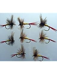 Lot #104 Lot de 8mouches flottantes, pêche à la mouche Professeur Simon éphémères UK pour truite, taille 10