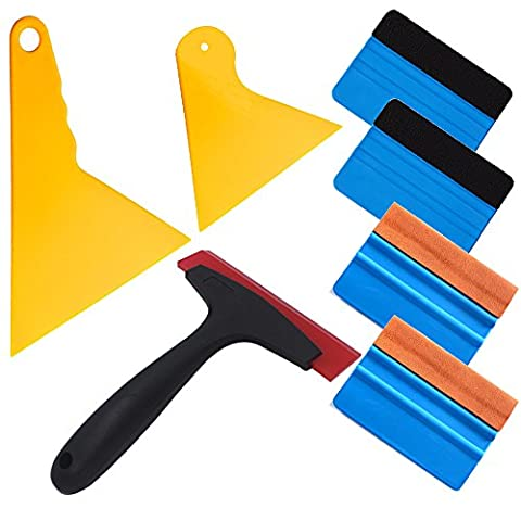 7 in 1 Installation Tool Kit for Car Window Wrapping Tint Vinyl with Many Size Squeegee and Silicone Rubber