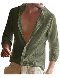 Juleya Camisa Hombre Lino Blusa Casual de Manga Larga Top Cuello Alto de Color Sólido Blusas