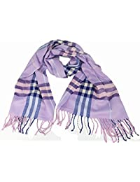 Large Soft designer check style winter Plaid scarf Lilac
