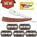 Premium Rasiermesser mit 10 Gillette Wechselklingen | Set für einsteiger | Rostfreier Edelstahl | Für wenig Geld optimal Rasieren oder Rasieren lassen | Exquisites Holz Design | von Halk23