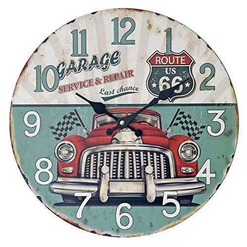 wczzh Quartz Lautlos Wanduhr Uhr Uhren Wall Clock Grüne Oldtimer rahmenlose Wanduhr MDF alte Wandaufkleber Uhr Handwerk Uhr 14 Zoll