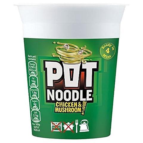 Pot Noodle - Nouilles instantanées - goût champignon et poulet - lot de 2 boîtes de 90 g