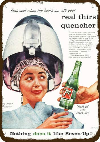 Laptopo 1956 7 UP 7UP SODA Vintage Look Replica Metal Sign Retro Hair Dryer Hairdresser (Soda 7up)