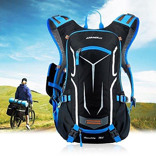 Lixada Leichter Fahrrad Rücksack mit Regenschutzkappe Blau