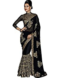 SareeShop Women's Georgette Embroidered Saree With Blouse Piece(KashiBlack-SAREE01_Black_COLOUR)