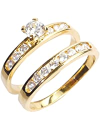Ah! Jewellery. Stunning 2pcs Simulated Diamonds Channel Side Setting Ring and Band. 4.5mm Centre Stone. 0.34ct Total Gem Weight. Outstanding Quality Set