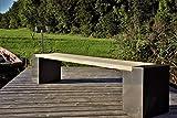 Stahl mit Herz Gartenbank Blox Edelrost Lärche 175cm (220, Grau)
