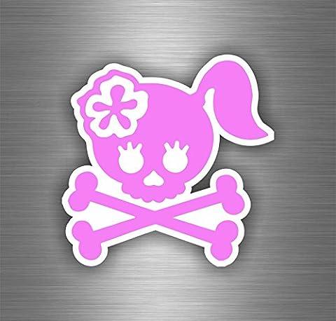 Autocollant sticker moto motard skull tete de mort pirate rose voiture