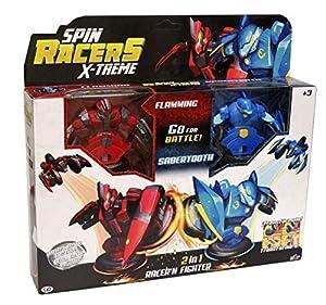 CYP BRANDS Pack de 2 Flamming y Sabertooth de Spin Racers, Multicolor, Talla Única (Sr-25)