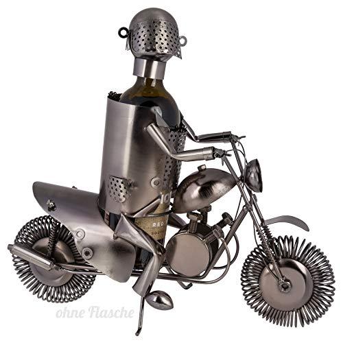 Metall-Flaschenhalter ''Motorradfahrer'' | Metall-Skulptur | Flaschenständer | Wohnaccessoire |...