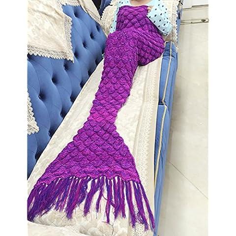 Candora ™ tessuto sirena coperta e coda da sirena coperta uncinetto con bilancia adultildren, Sacchi A Pelo.178,3x 90,1cm (180cmx90cm) Violet