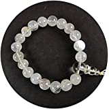 Eshoppee Clear Crystal Quartz Sphatik Stone Power Bracelet With Guru Bead (crystal White)