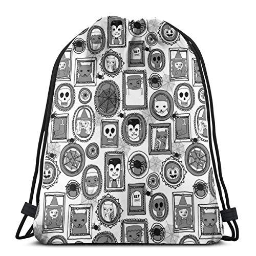 n Portraits Grey Kids Baby Witches Frankenstein_6599 3D Print Drawstring Backpack Rucksack Shoulder Bags Gym Bag for Adult 16.9