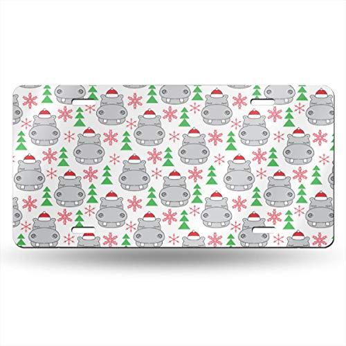 Alice_Home Sammelschild für Weihnachten, Hippos Santa Hüte, Aluminium, Nummernschild, Schminkschild, Wanddekoration, Auto