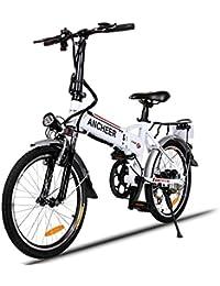 Teamyy Bicicleta Eléctrica de Montaña Bicicleta Plegable Rueda de 20 pulgadas 250W / 7 ...