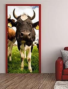 Türposter KUH  Türaufkleber Türfolie Türtapete  Rind Tier Milch Weide 608tp