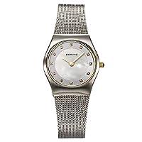 Bering Classic - Reloj analógico de mujer de cuarzo con correa de acero inoxidable plateada - sumergible a 50 metros de Bering