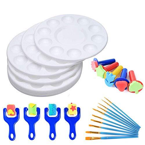 Malwerkzeuge für Kinder, 12 Stück, runde Farbpalette mit 19 Malpinsel-Set für DIY Handwerk Professionelle Kunst Malerei (Hausgemachte Kostüm Kinder Zu Machen)