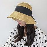 GAOQIANGFENG Womens UPF 50 + Strohhut, Sommer Sonnenhut, große Kante, Falten, Eisstockschießen, Sonnenschirm, Strandhut, Fliege, lässige Hut, Khaki