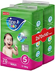 Fine Baby Diapers, Size 5, Maxi 11–18kg, Mega Pack, 2 packs of 70 diapers, 140 total count