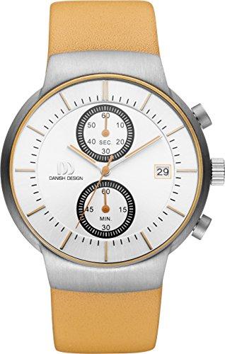 Danish Design Men's 41.5mm Brown Leather Band Titanium Case Quartz Silver-Tone Dial Analog Watch IQ29Q1128