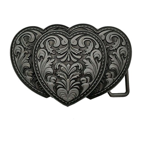 YONE Womens Ornate Triple Western Heart Belt Buckle Silver Black Gürtelschnallen (Womens Western Belt Buckle)