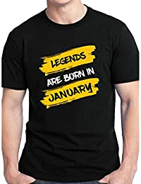 Grafytees Legends Are Born In January Brush Black Unisex Graphic Printed Birthday Month Round Neck T-Shirt