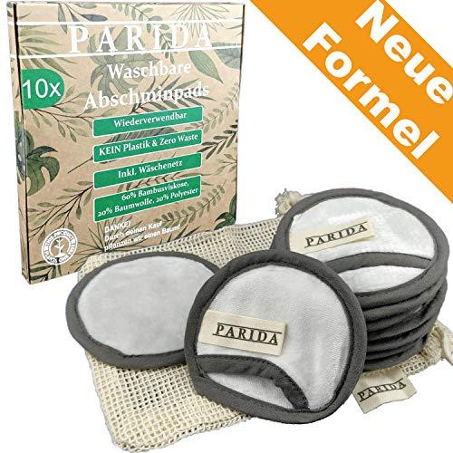 PARIDA [10x] Abschminkpads wiederverwendbar aus Bambus und Baumwolle | Waschbar Bio Reinigungspads | Make-Up Entferner Pads | Zero Waste Wattepads - Reinigungs-gel Make-up Entferner