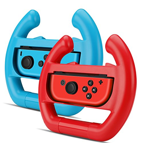 Price comparison product image TNP Nintendo Switch Wheel for Joy-Con Controller (Set of 2) - Racing Steering Wheel Controller Accessory Grip Handle Kit Attachment (Red and Blue) - Nintendo Switch