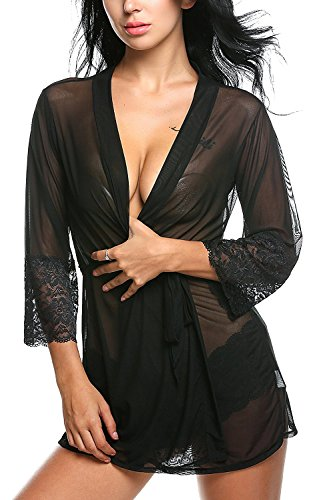 Xs and Os Women Black Kimono Lace Lingerie Sleepwear Nightwear with lace panty