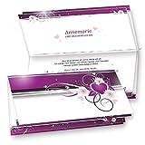 Einladungskarten Geburtstag Herzen (40 Sets inkl. Kuverts) Set mit40 Karten, 40 Umschläge, 40 Einlegeblätter zum Selbstbedrucken + Silberband. Für Einladungen, Glückwünsche oder Hochzeit