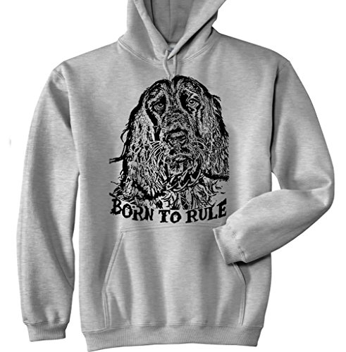 Teesquare1st Men's ENGLISH COCKER SPANIEL BLACK BORN TO RULE P New Grey Cotton Hoodie Size Small