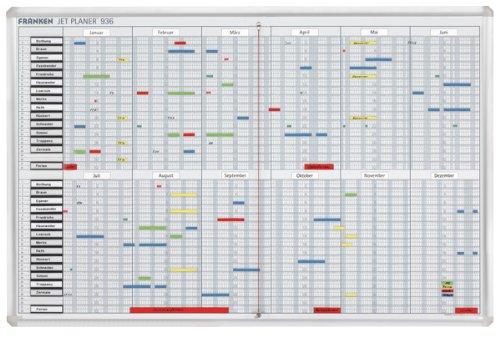 Franken SJP936 Jahresplaner maximal 32 Positionen (12 Monate x 31 Tage mit Zubehör) 60 x 90 cm, weiß