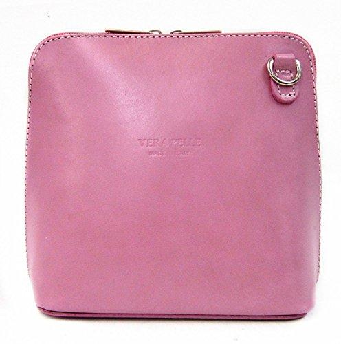 Vera Pelle italiana di borsa a tracolla da donna Rosa (Rosa polvere)