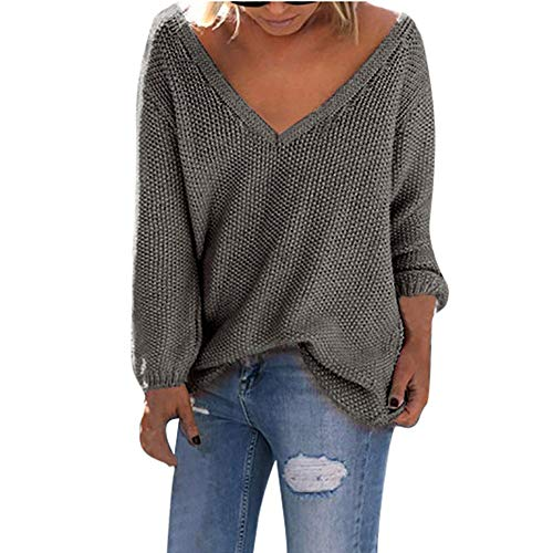 n Plus Size Womens Long Sleeve Mode T-Shirt Tops lose Strickjacke Bluse(Medium,Dunkelgrau) ()