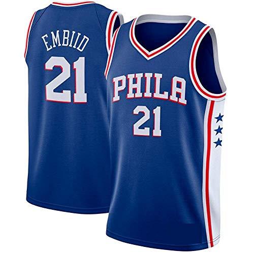 J-Met Herren-Basketballtrikots, NBA Philadelphia 76ers 21# Joel Embiid Sommerwesten Oberteile Ärmellose T-Shirts (Größe: S-XXL)