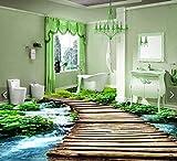 Yosot 3D Bodenbelag Benutzerdefinierte Bild 3D Brücke Wald Streams 3D Badezimmer Bodenbelag Foto 3D Wandbild Tapete-200cmx140cm