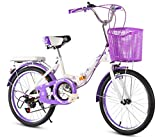 JBHURF Bicicleta para niños Bicicleta Plegable para niños y niñas para niños de 8 a 9 años. Bicicleta Deportiva de 18 Pulgadas. (Color : Púrpura)