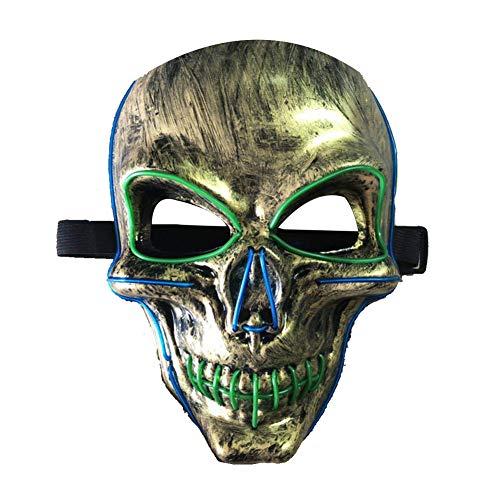 LAANCOO Halloween LED-Maske Horror Schädel-Kopf-Design Glühende Maske