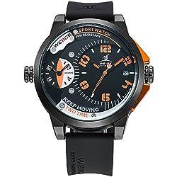 Alienwork DualTime Quartz Watch Multi Time Zones Wristwatch XXL Oversized Polyurethane black black OS.UV1501-6