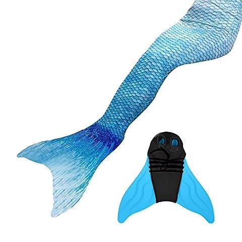 Meerjungfrauenschwanz Ⅱ zum Schwimmen mit Verbesserten Flosse und Schönere Mermaidens Meerjungfrauenschwanz (Erwachsene Medium, Wasser blau)