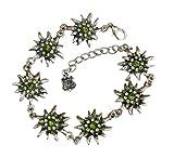 TrachtExemplar® Trachtenschmuck Dirndl Edelweiss Armband mit Swarovski Elements Kristallen in Peridot und Olivine grün