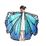 Overdose 145 * 65CM Frauen Weiche Gewebe Schmetterlings Flügel Schal feenhafte Damen Nymphe Pixie Kostüm Zusatz (Eine Seite bedruckt) (136*108CM, P-Blue)