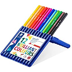Staedtler 157 SB12 Ergosoft Triangular Colouring Pencils - Assorted Colours, Pack of 12