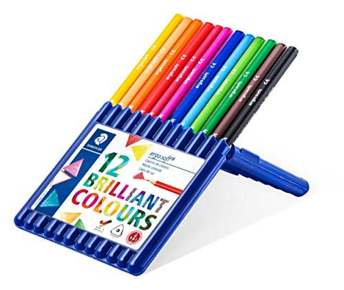 Staedtler 157 SB12 ergo soft Buntstifte (erhöhte Bruchfestigkeit, dreikant, ABS-System, rutschfeste Soft-Oberfläche, kindgerecht nach DIN EN71, FSC-Holz, Made in Germany) Set mit 12 brillanten Farben -