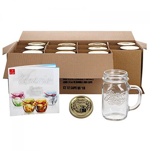 it Henkel und Deckel Original Quattro Stagioni Glas 0,415L - inkl. Bormioli Rezeptheft ()
